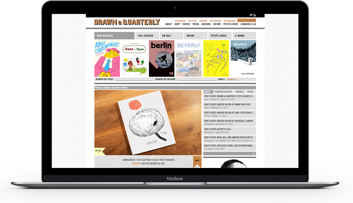 Drawn and Quarterly homepage