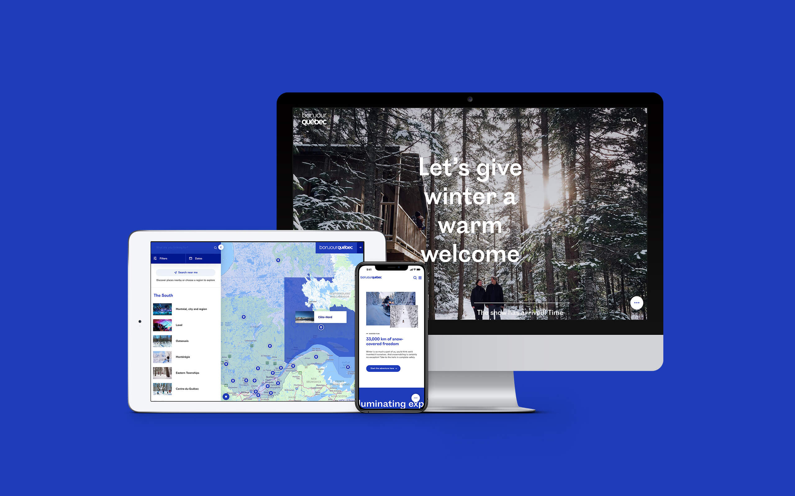 Showcase of the Bonjour Québec project and responsive design