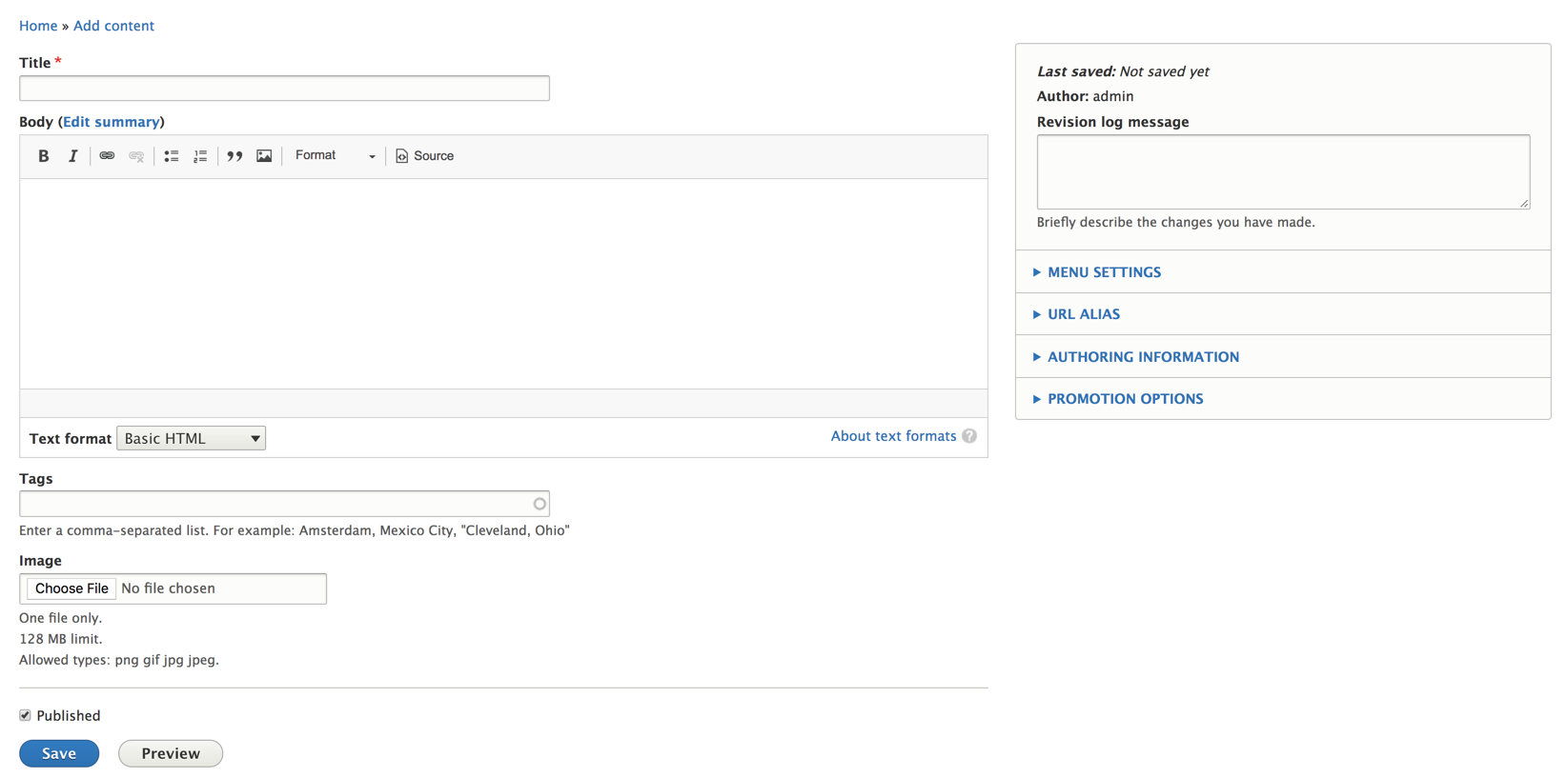 Current Drupal add content page screenshot