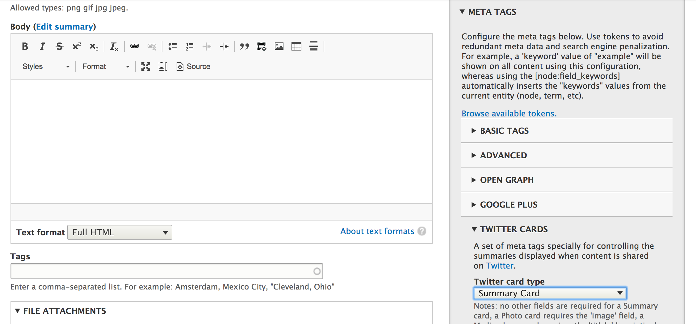 Screenshot of Metatag configuration for Drupal 8