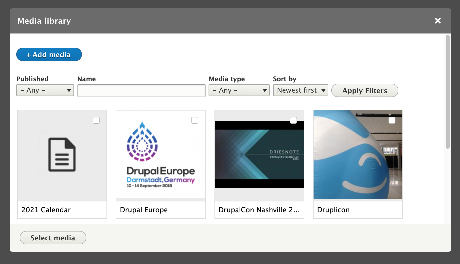 Screenshot Drupal media library