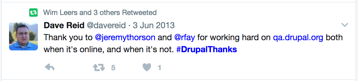 Tweet of #DrupalThanks