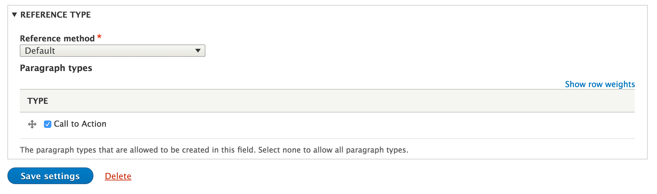 Reference types for the paragraph field