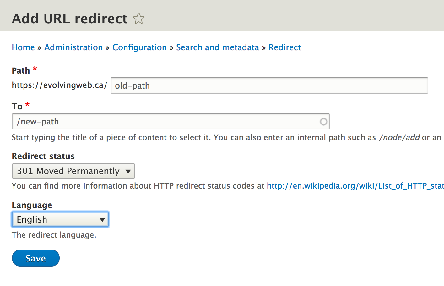 Screenshot of redirect interface