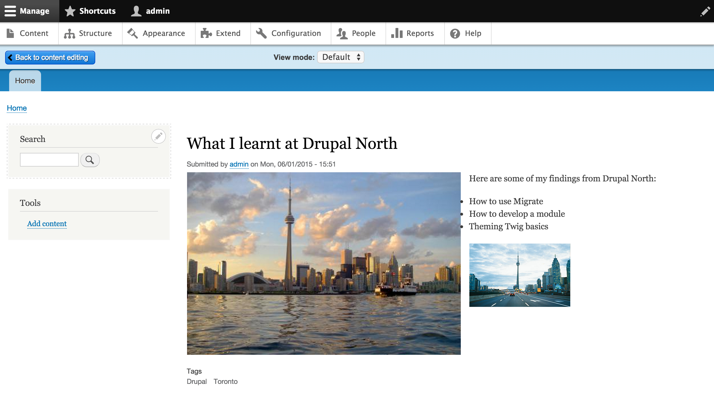 Screenshot of the preview interface in Drupal 8