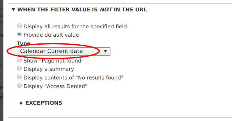 Default value for the contextual filter