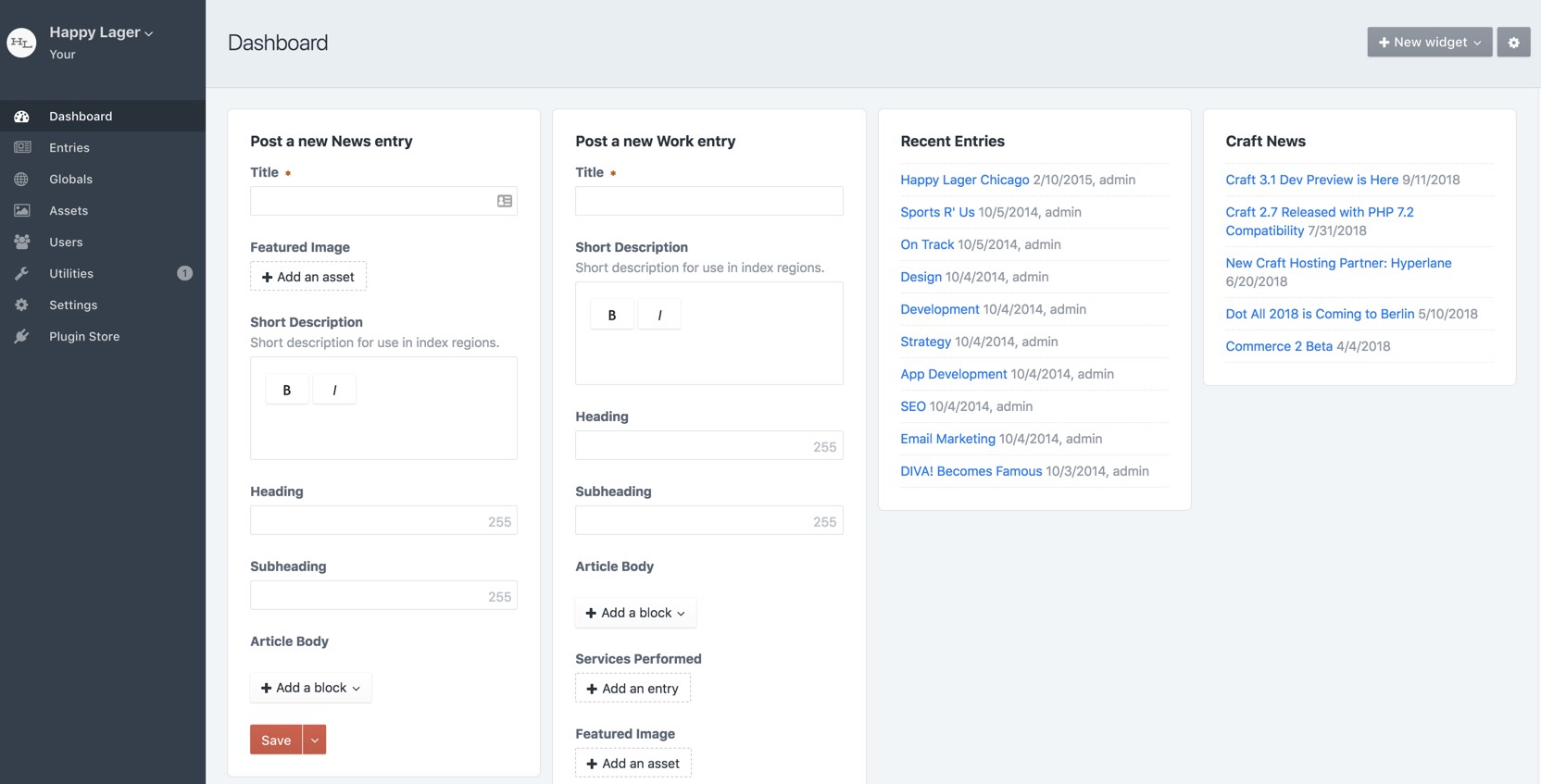 Craft CMS dashboard