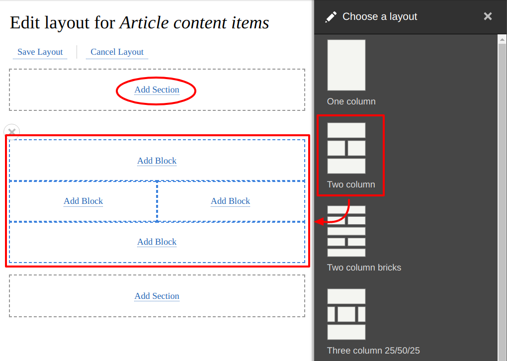 Configure sections and blocks for the content