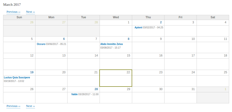 How the calendar looks in front-end