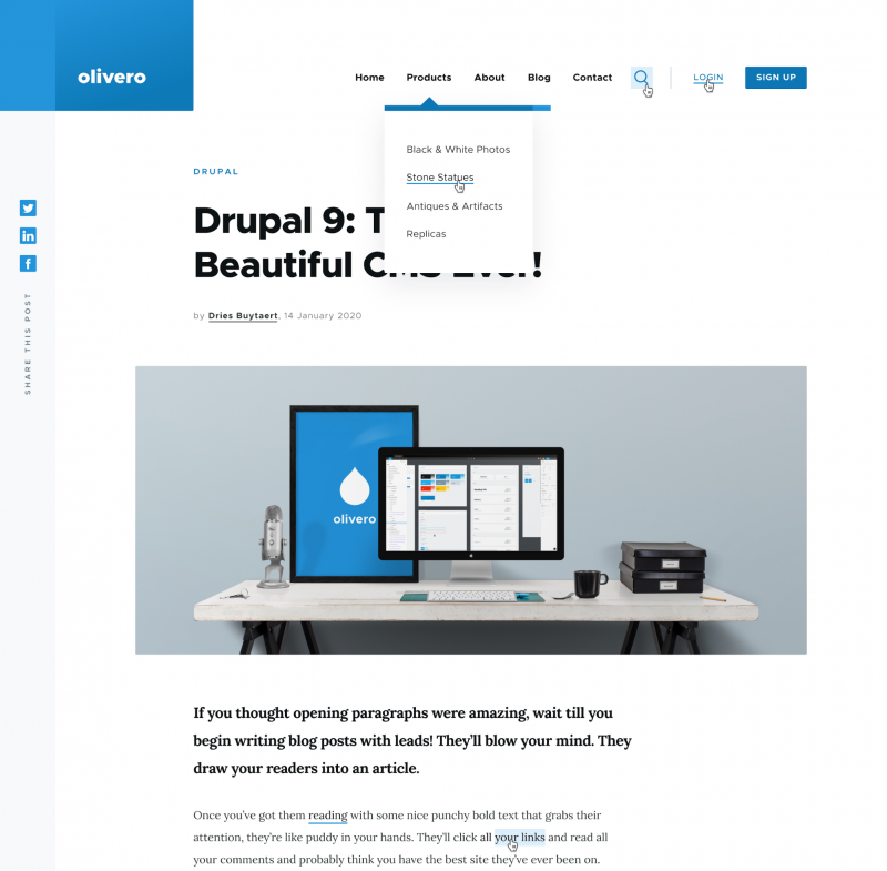 Screen capture of the Olivero front-end theme in Drupal