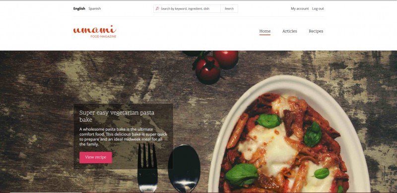 An contrast example using the Umami demo theme for Drupal