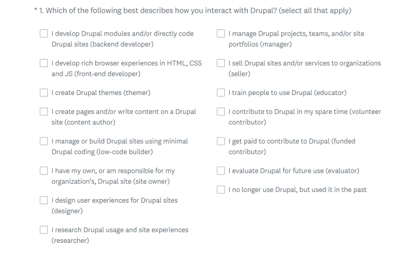 The first question on the 2020 Drupal product survey