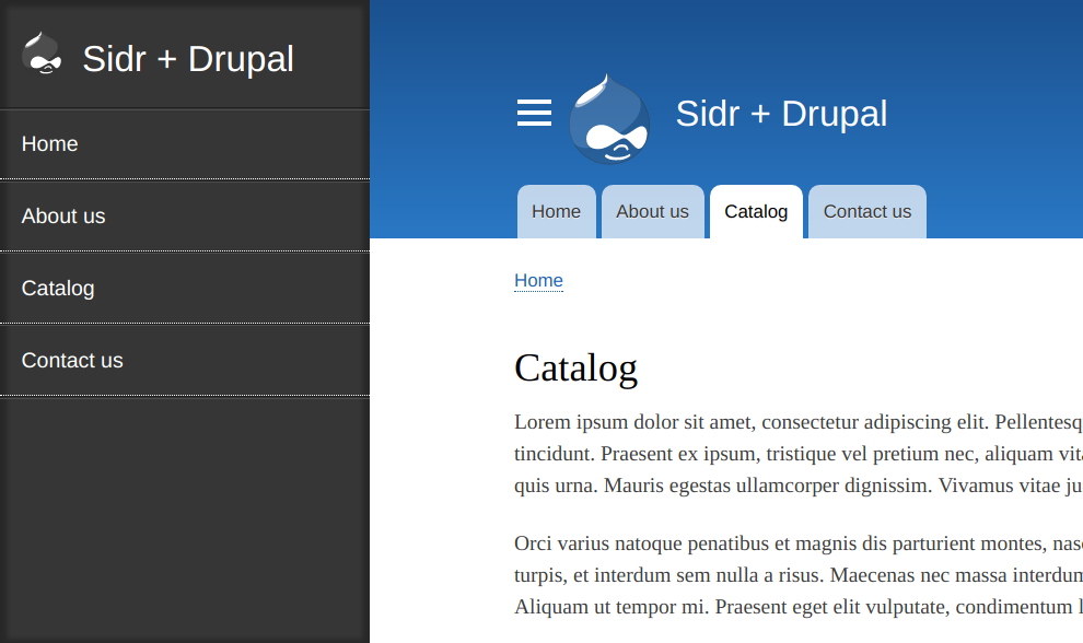 Screenshot of a collapsible Sidr in Drupal