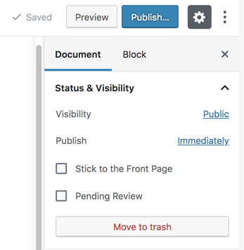 WordPress workflow buttons