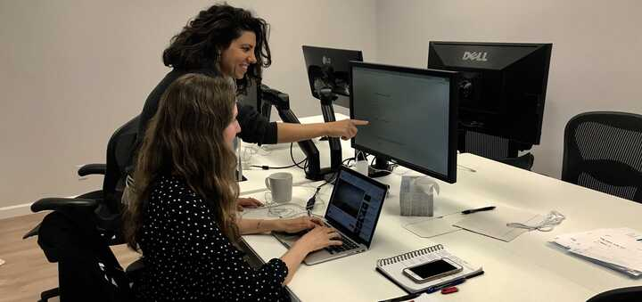 Two participants taking the content editor survey