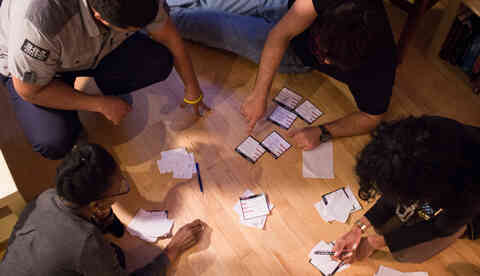 Sorting cards to plan a project