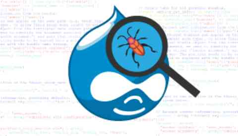 Drupal logo under a magnifying glass