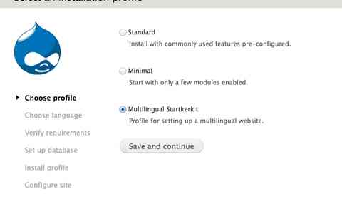 Installing Drupal using a multilingual install profile