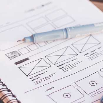 Wireframes on a notebook